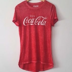 COCA-COLA Red Graphic High Low Burnout Tee